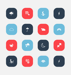 Set of 16 editable climate icons includes symbols vector