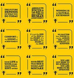 Set of motivational quotes about future goals vector