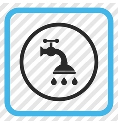 Shower tap icon in a frame vector