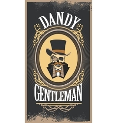skull gentleman in the cylinder in a frame vector image
