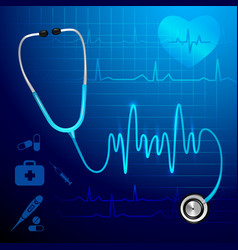 Stethoscope heartbeat background vector
