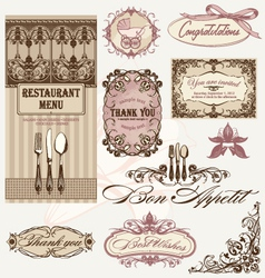 vintage frames and decoration vector image vector image