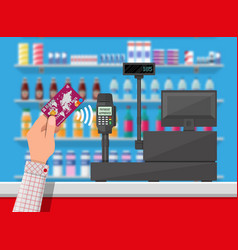 Wireless payment in supermarket vector