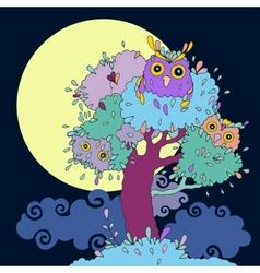 Owls in tree Funny cartoon vector image