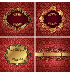 Vintage gold frame on red damask background vector
