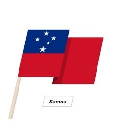 Samoa ribbon waving flag isolated on white vector