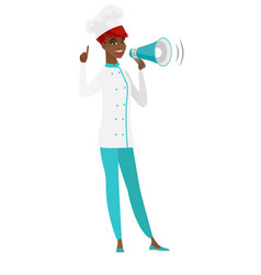 Young african chef cook making announcement vector