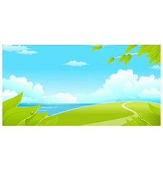 Green landscape with sea and blue sky vector