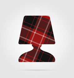 Red black tartan icon - bedside table lamp vector