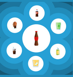 Flat icon soda set of carbonated cup bottle and vector