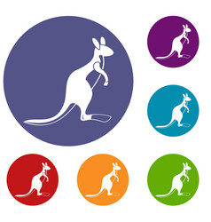 Kangaroo icons set vector