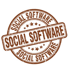 Social software brown grunge stamp vector