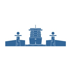 Cruise ship in a lock vector