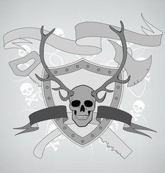Horned skull coat of arms vector