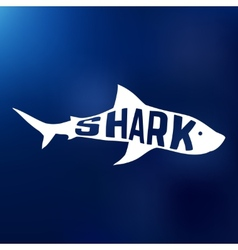 White shark silhouette with text inside logo vector