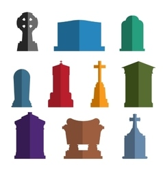Tombs stone grave construction set vector