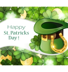 Leprechaun hat with horseshoe vector
