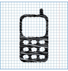 Cell phone icon with pen effect on paper vector