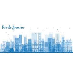 Outline rio de janeiro skyline with blue buildings vector