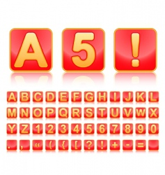 Alphabet in red small squares vector image vector image