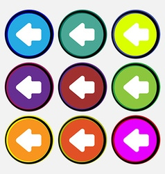 Arrow left Way out icon sign Nine multi-colored vector image vector image