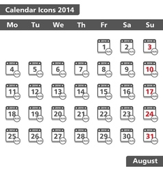 August 2014 Calendar Icons vector image