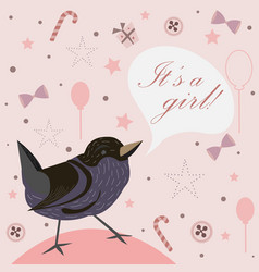 baby girl birth announcement baby shower vector image