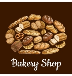 Bakery shop emblem in shape of bread loaf vector