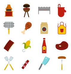 Bbq food icons set in flat style vector