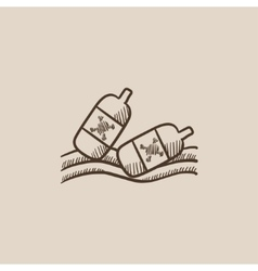 Bottles floating in water sketch icon vector