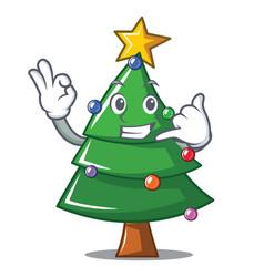 call me christmas tree character cartoon vector image