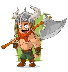 Cartoon strong viking with big axe vector image vector image