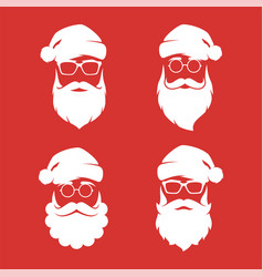 collection of four hipster style santa claus vector image
