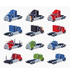 Collection of heavy trucks vector