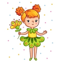 Cute young girl holding a beautiful yellow flower vector image vector image