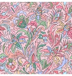 Doodle colorful floral hand draw pattern vector image vector image