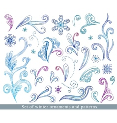 Doodle winter design elements vector image vector image