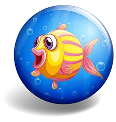Fish swimming on round badge vector image