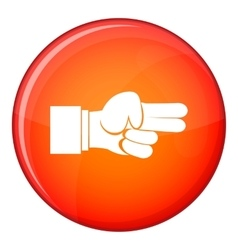 Hand showing two fingers icon flat style vector
