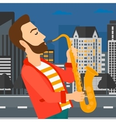 Musician playing saxophone vector