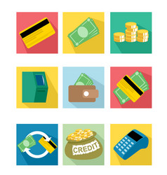 Nine payment icons vector