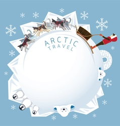 People with arctic dogs sledding round frame vector