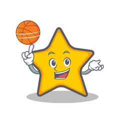 Playing basketball star character cartoon style vector