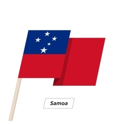 Samoa ribbon waving flag isolated on white vector