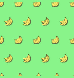 seamless pattern with bananas on green background vector image vector image