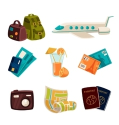 set of elements about tourism and vacation vector image vector image