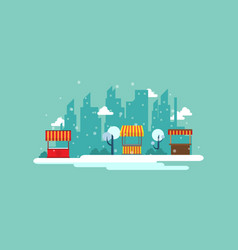 Street stall with town background landscape vector