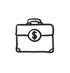 Suitcase with dollar symbol sketch icon vector