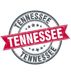 Tennessee red round grunge vintage ribbon stamp vector
