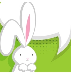 White cute rabbit green comic bubble vector